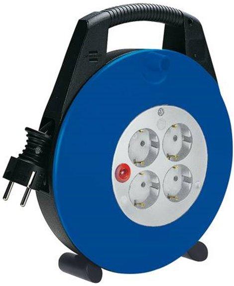 BRENNENSTUHL Kompaktowy przedłużacz zwijany Vario-Line Box 4 gniazda czarny/niebieski/jasnoszary 5m H05VV-F 3G1,5