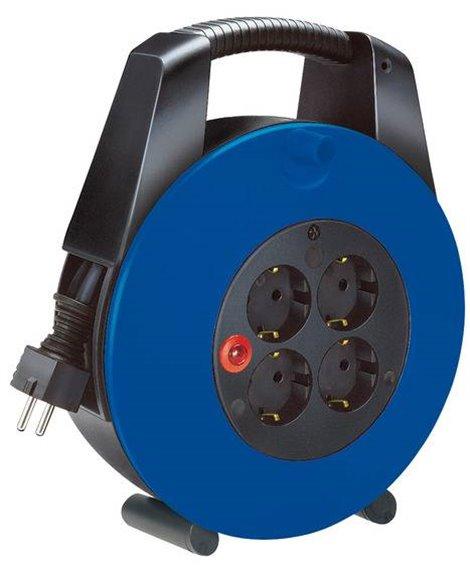 BRENNENSTUHL Kompaktowy przedłużacz zwijany Vario-Line Box 4 gniazda czarny/niebieski 15m H05VV-F 3G1,5