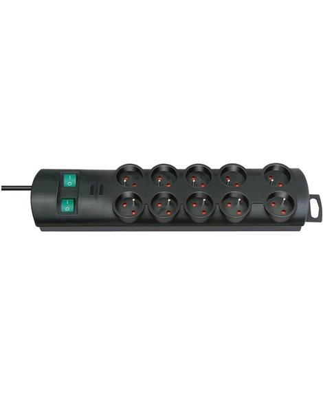 BRENNENSTUHL Listwa zasilająca Primera-Line 10 gniazda czarny 2m H05VV-F 3G1,5 z wyłącznikiem