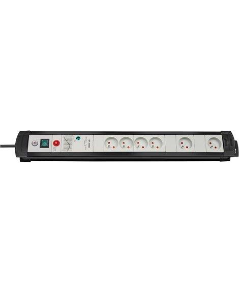 BRENNENSTUHL Listwa zasilająca przeciwprzepięciowa Premium-Line Technik 30.000A 4gn czarny/Jasnoszary 3m H05VV-F 3G1,5