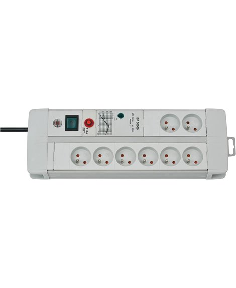 BRENNENSTUHL Listwa zasilająca przeciwprzepięciowa Premium-Line Technik 30.000A 4gn Jasnoszary 3m H05VV-F 3G1,5