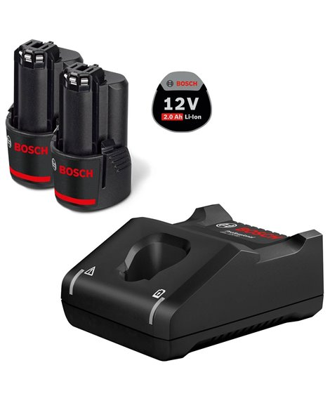 BOSCH Zestaw 2 akumulatory GBA 12V 2 Ah + Ładowarka GAL 12-40V