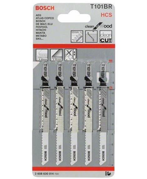 BOSCH 5x brzeszczoty 100 mm do wyrzynarek T 101 BR Clean for Wood