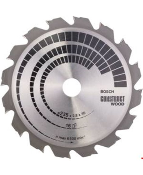 BOSCH Tarcza pilarska 235 x 30/25 x 2,8 mm, 16 Construct Wood