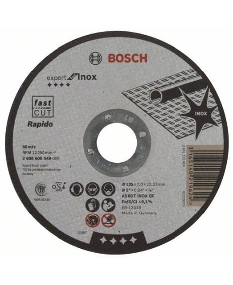 BOSCH Tarcza tnąca 125 x 22 mm 2x1 Rapido AS 60 T INOX BF Expert for Inox
