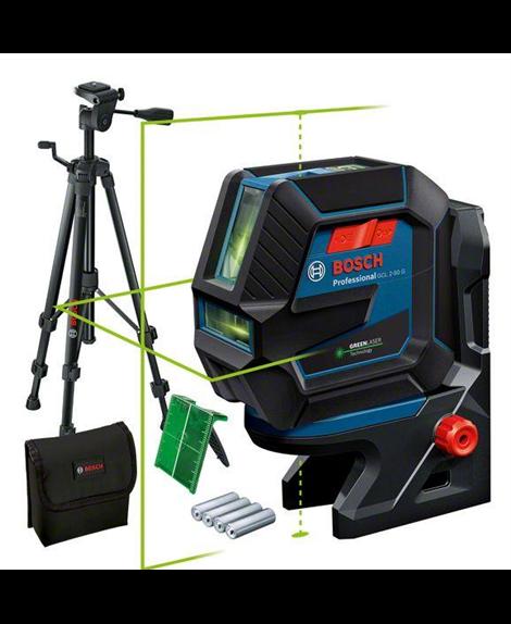 BOSCH Laser wielofunkcyjny GCL 2-50 G + RM10 + BT150 + pokrowiec + tarcza celownicza