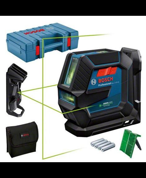 BOSCH Laser liniowy GLL 2-15 G + LB10 + zacisk sufitowy + pokrowiec + tarcza celownicza + futerał